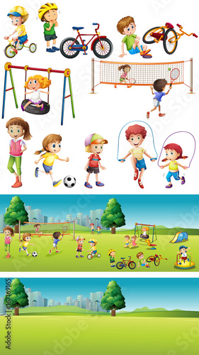 Park scenes with kids playing sports