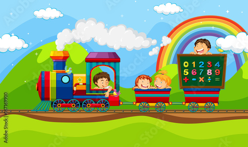 Foto op Canvas Lime groen Children riding on train