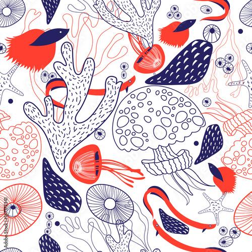 Materiał do szycia Seamless beautiful sea pattern