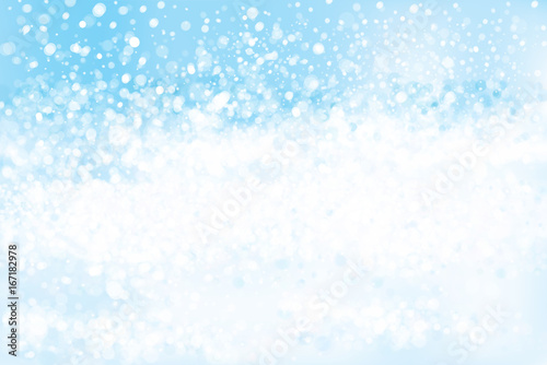 Wall mural Vector blue, lights, bokeh background, winter 