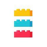 Blocks construction toys vector illustration, flat cartoon plastic color building blocks or bricks toy isolated on white background - 167186509