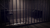 3D Render of locked prisoncell for two person with beds. - 167188576