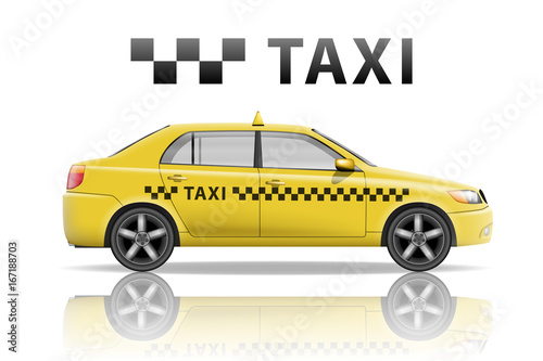 Yellow taxi cab isolated on white background. Realistic city taxi mockup. Vector illustration