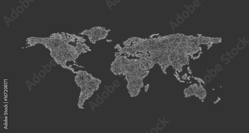 Foto op Aluminium Wereldkaarten Sketch world map design from curved lines - vector illustration