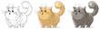 Cartoon cool standing surprised big cat vector set - 167214363