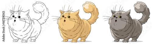 Cartoon cool standing surprised big cat vector set