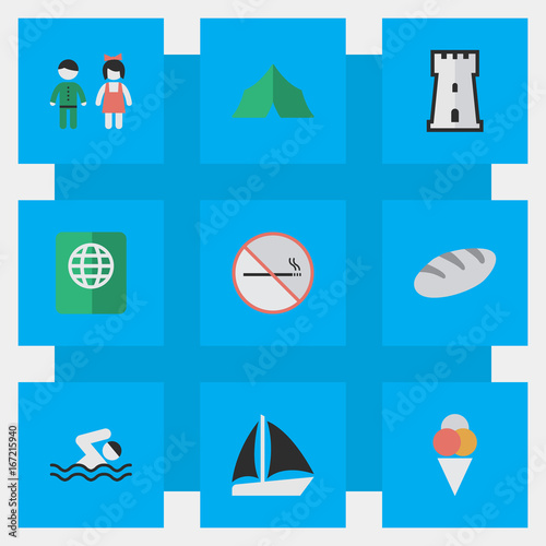 Vector Illustration Set Of Simple Relax Icons. Elements Camping, Smoke Forbidden, Pair And Other Synonyms Smoking, Tower And Love.
