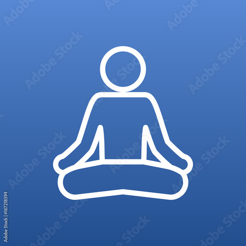 Wall mural Isolated Meditate Outline Symbol On Clean Background. Vector Yoga Element In Trendy Style.