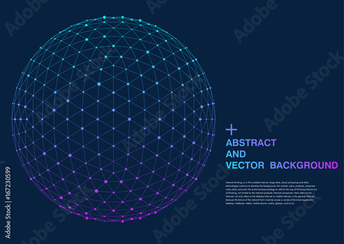 Fototapeta 3D polygon mesh sphere, Science and technology background point line connection