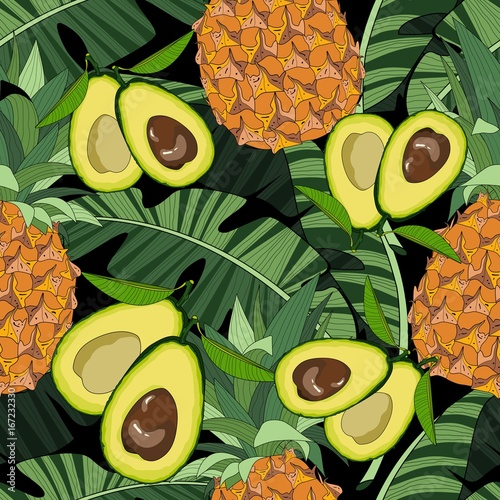 Seamless pattern with avocado and tropical leaves. Vector illustration. - 167232330