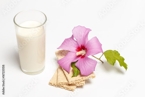 Staande foto Roses Dietary food with a flower