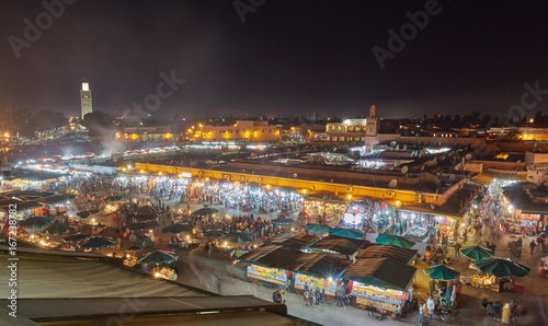 Fotobehang Marokko view of Djemaa el Fna, a square and market place in Marrakesh's medina quarter