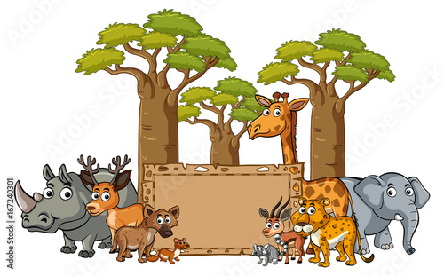 Foto op Canvas Wit Banner template with wild animals