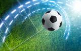 Soccer ball on green soccer stadium - 167251171