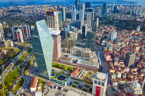 Aerial view business and financial district of Istanbul, Turkey Poster