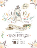 Cute baby rabbit animal for kindergarten, bunny nursery isolated illustration for children clothing, pattern. Watercolor Hand drawn boho Baby shower design, nursery poster, postcard, phone cases. - 167251736