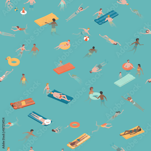 Cotton fabric People swimming and diving in the sea
