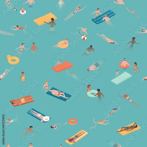Materiał do szycia Ludzie, pływanie i nurkowanie w morzu