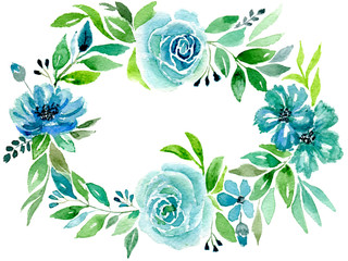 Card blue flowers