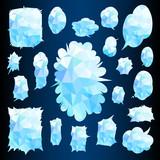 Comic Words Balloon Set Blue Cubism texture