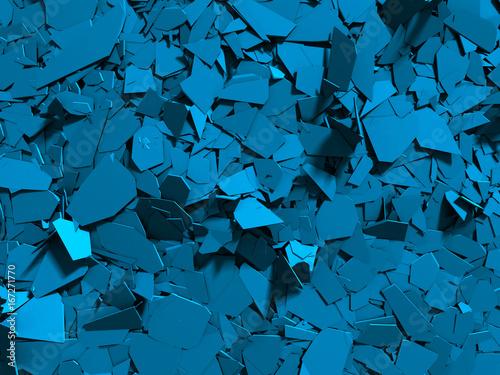 Cracked blue shiny demolition broken surface background