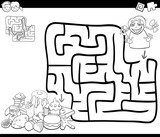 maze activity game with girl and sweets