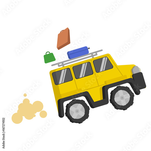 Picture Yellow jeep quickly rides and from it fall multicolored suitcases. Smoke, smog, dust, sand