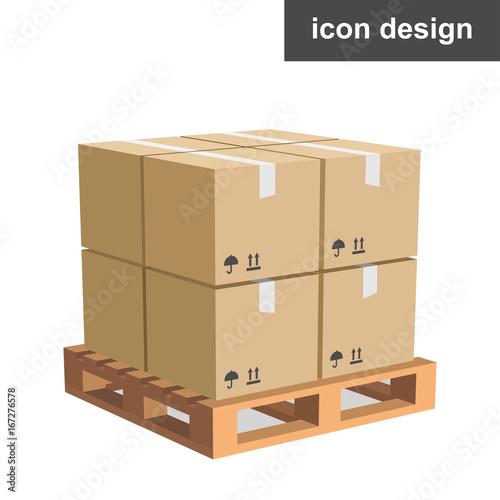 Vector icon cargo boxes pallet