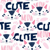 seamless cute cat face pattern vector illustration