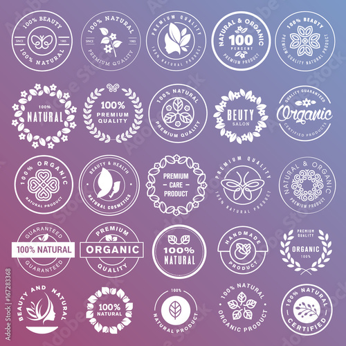 Collection of stickers and badges for natural cosmetics and beauty products. Vector illustrations on a stylized background, for cosmetics, healthcare, spa and wellness.  - 167283368