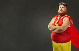 Fat funny man in a superhero costume. - 167283756