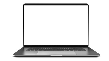 Laptop with blank screen isolated on white background, white aluminium body.Whole in focus. High detailed.