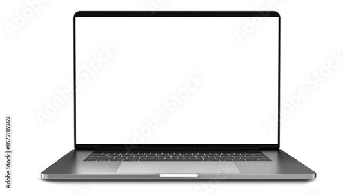 Leinwanddruck Bild Laptop with blank screen isolated on white background, white aluminium body.Whole in focus. High detailed.