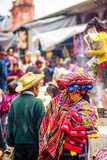 Indigenous maya market in Chichicastenango in Guatemala - 167290956