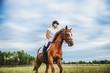 Girl jockey riding a horse - 167291732