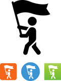 Person Carrying A Flag Icon - Illustration - 167295733