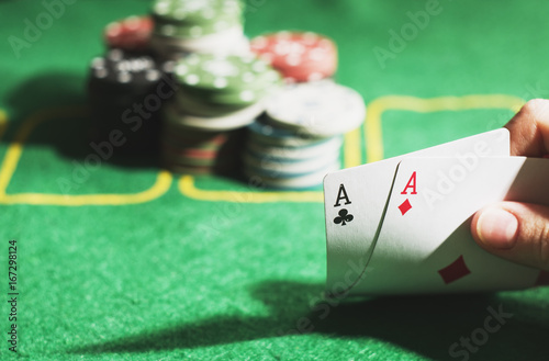 Poker concept. Two aces in hand Poster