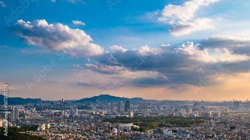 South Korea. Seoul City and skyline with skyscrapers.