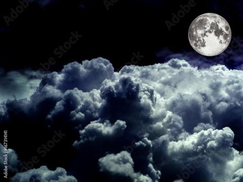 Foto op Canvas Zwart super moon heap white cloud in the night sky