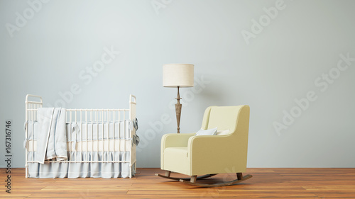Nursery room with crib and chair - 167316746