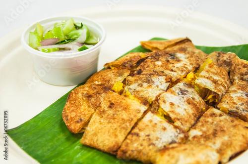 Mataba, Muslim and Indian pancake stuffed isolated on white