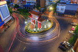 Blur light of car moving at Odean circle landmark in Thailand / Odean circle landmark in Thailand