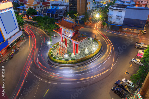 Blur light of car moving at Odean circle landmark in Thailand / Odean circle landmark in Thailand