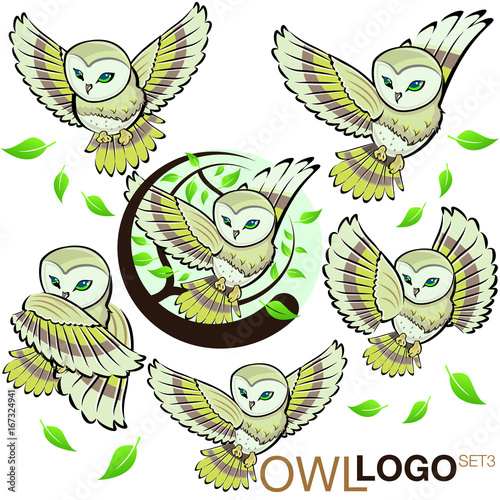 Foto op Aluminium Uilen cartoon owl logo set 3