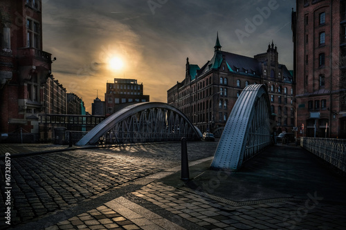 Historical bridge in the Hamburg Speicherstadt at night
