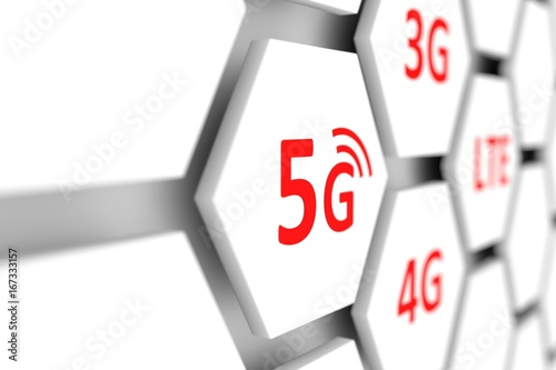 5G cell conceptual blurred background 3d illustration