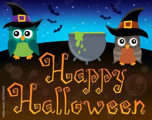 Tuinposter Voor kinderen Happy Halloween sign with owls 1