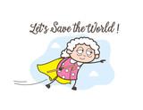 Cartoon Super Granny Flying Vector Graphic - 167336927