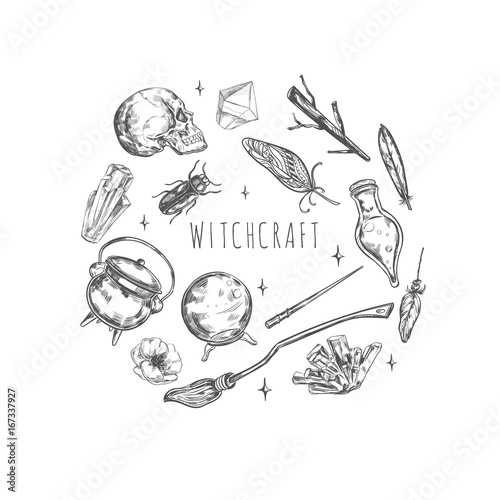 Hand Drawn Magic Set Illustration Wizardry Witchcraft Symbols
