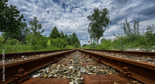 In de dag Spoorlijn Bahndamm